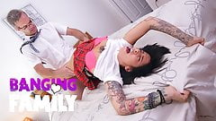Banging Family – Step-Daddy Teaches Inked Schoolgirl a Nasty